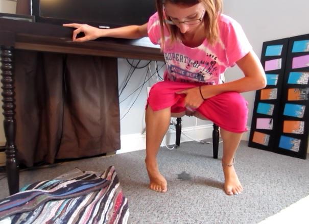 Girls pissing on carpet